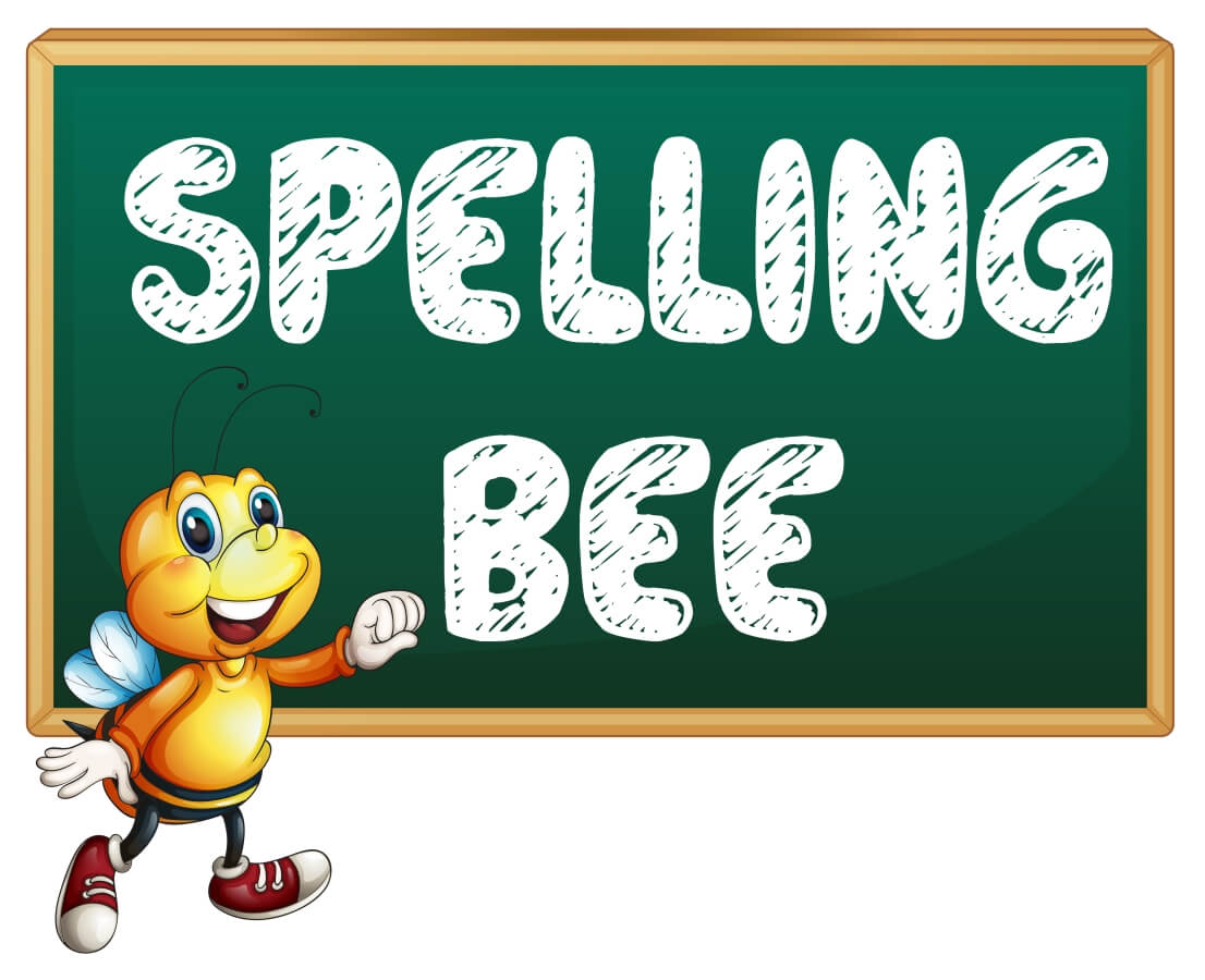 cartoon spelling bee on chalkboard